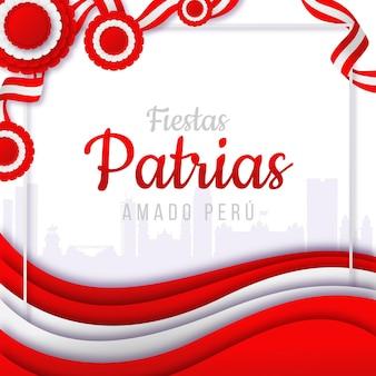 Ilustração gradiente fiestas patrias de peru