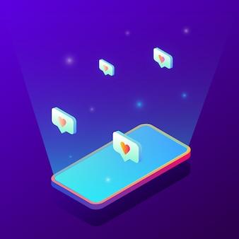 Ilustração gradiente isométrica da tela do smartphone