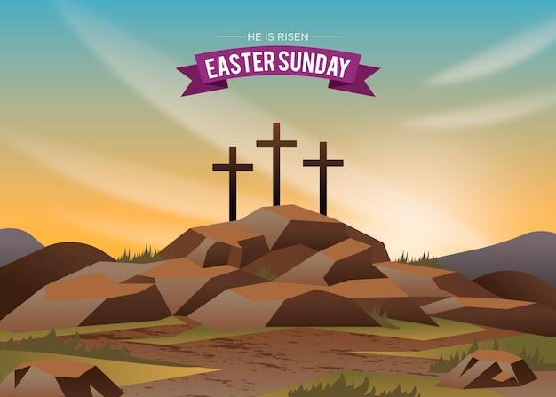 Ilustração gradiente páscoa domingo