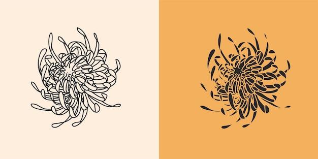 Ilustração gráfica abstrata com conjunto de elementos de logotipo, desenho de linha de flor e silhueta