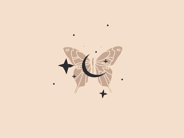 Ilustração gráfica abstrata com elemento de logotipo, arte boêmia da lua crescente de ouro, borboleta