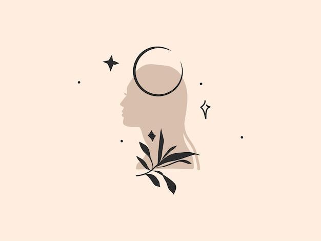 Ilustração gráfica abstrata com elemento de logotipo, arte boêmia da lua crescente, silhueta de mulher