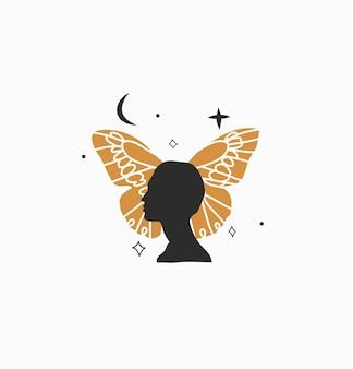 Ilustração gráfica abstrata com elemento de logotipo, arte boêmia de borboleta, lua crescente e mulher