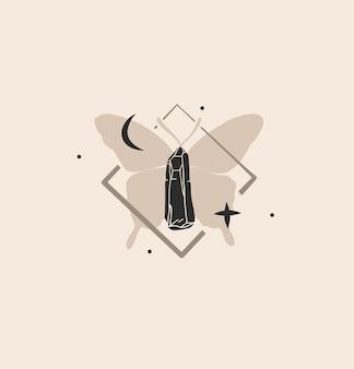 Ilustração gráfica abstrata com elemento de logotipo, arte da lua crescente, silhueta da borboleta