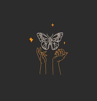 Ilustração gráfica abstrata com elemento de logotipo, arte mágica boêmia de borboleta e estrelas