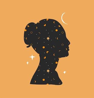 Ilustração gráfica abstrata com elemento de logotipo, arte mágica da astrologia da lua, estrelas e mulher