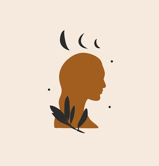 Ilustração gráfica abstrata com elemento de logotipo, arte mágica da lua, estrelas e silhueta de mulher