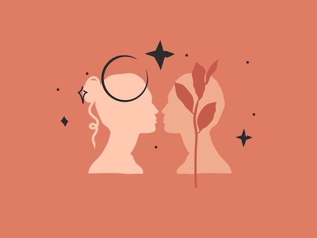 Ilustração gráfica abstrata com logotipo, arte mágica boêmia da lua crescente, mulher romântica e homem