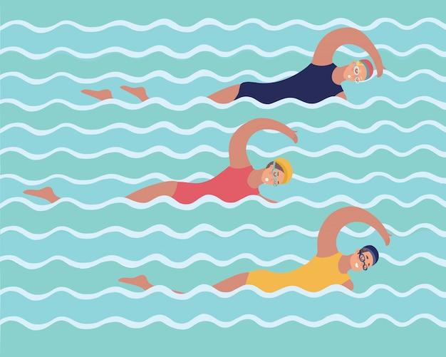 Ilustração gráfica abstrata da família (filha de mãe) em treinamento na piscina, mulheres de padrão, meninas e esportes, estilo de vida, impressão de cor, fundo azul e branco