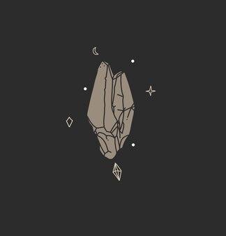 Ilustração gráfica abstrata de vetor com elemento de logotipo; arte mágica boêmia da silhueta de cristal