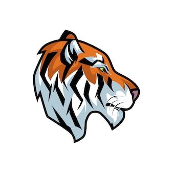 Ilustração gráfica da cabeça irritada do tigre