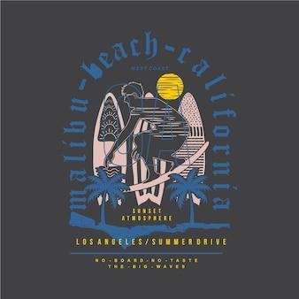 Ilustração gráfica da tipografia da praia de malibu para camisetas impressas