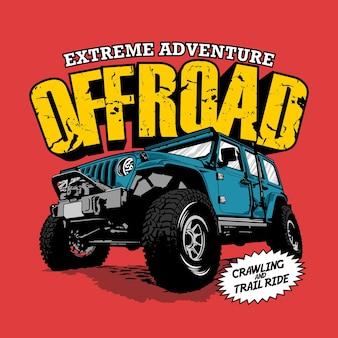 Ilustração gráfica de aventura offroad