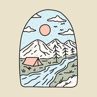 Ilustração gráfica de camping de natureza, rio e montanha