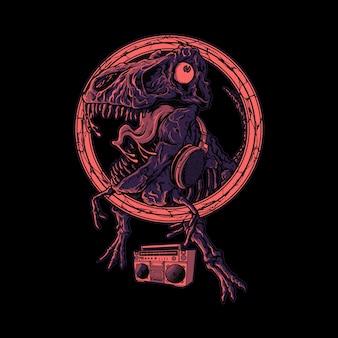 Ilustração gráfica de dinossauro dançando