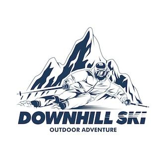 Ilustração gráfica de downhill ski