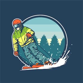 Ilustração gráfica de esqui