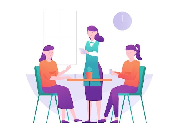 Ilustração gráfica de garçons recebem pedidos de clientes no café