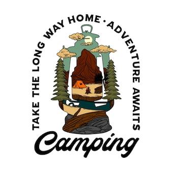 Ilustração gráfica de lanterna de acampamento