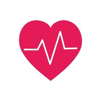 Ilustração gráfica de símbolo de batimento cardíaco vermelho