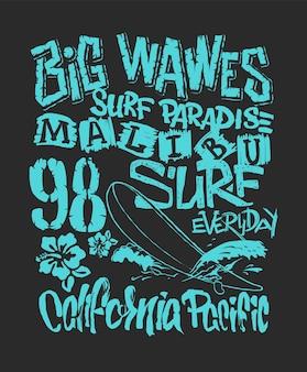 Ilustração gráfica de surf