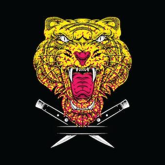 Ilustração gráfica de tigre animal