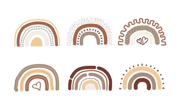 Ilustração gráfica desenhada à mão em forma de arco-íris orgânico fofo