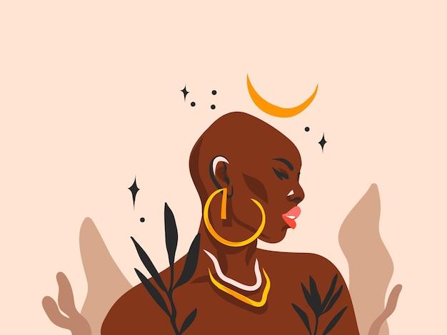 Ilustração gráfica plana abstrata desenhada à mão com retrato de mulher negra afro-americana étnica tribal