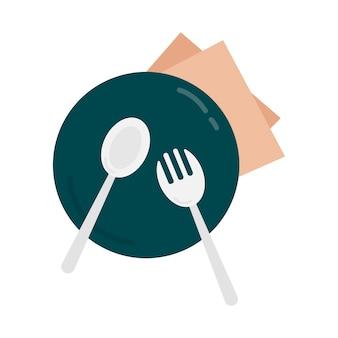 Ilustração gráfica prato e talheres