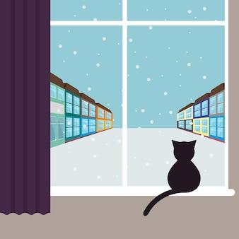 Ilustração gráfica simples com um gato preto sentado na janela e olhando na rua nevando da cidade com casas de cores brilhantes para uso em design de cartão, pôster, banner, cartaz ou outdoor