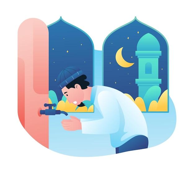 Ilustração gráfico de um homem muçulmano fazendo (wudhu) ablução, homem leva água para lavar as mãos.