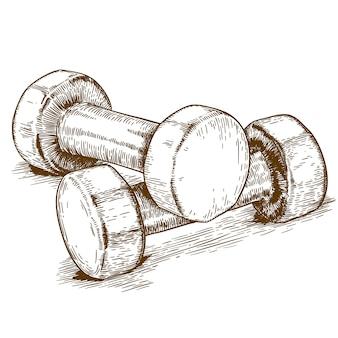 Ilustração gravura de haltere