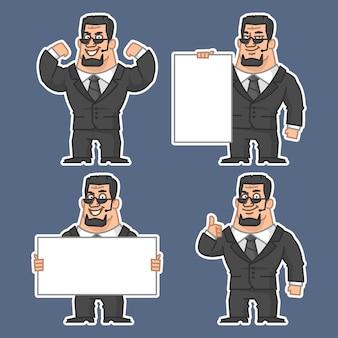 Ilustração, guarda em várias poses adesivos 1, formato eps 10
