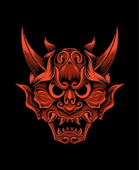 Ilustração hannya, a máscara tradicional do demônio oni japonês