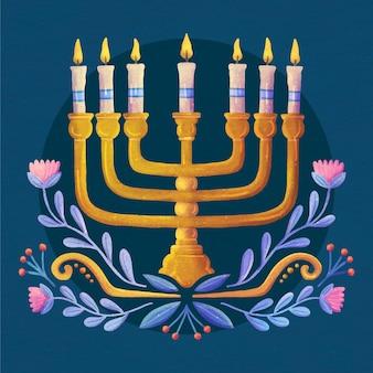 Ilustração hanukkah em aquarela