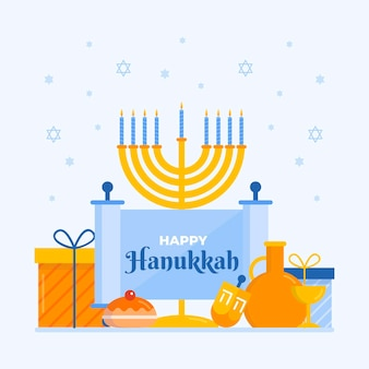 Ilustração hanukkah plana com menorá