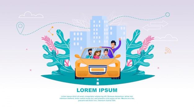 Ilustração happy company people no carro