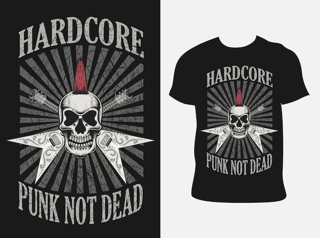 Ilustração hardcore punk caveira com design de camiseta