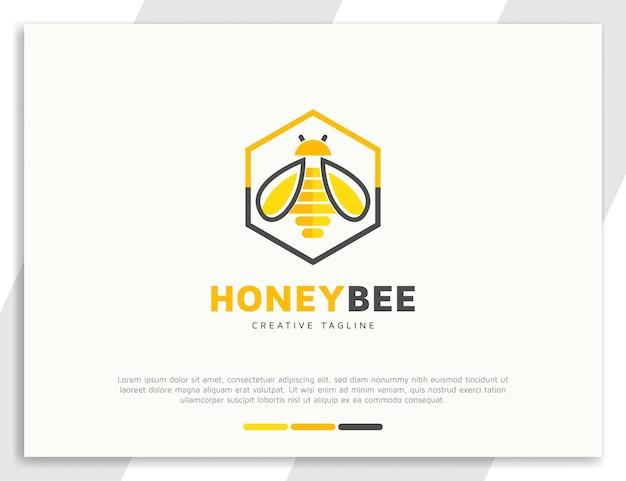 Ilustração hexagonal do logotipo da abelha mel e da colmeia