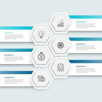 Ilustração hexágono infográfico 6 opções para o negócio.