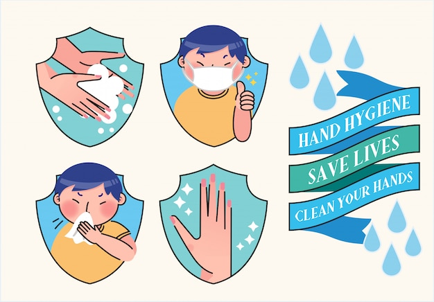 Ilustração higiênica de lavagem das mãos