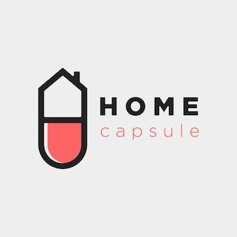 Ilustração home capsule logo symbol template vector design