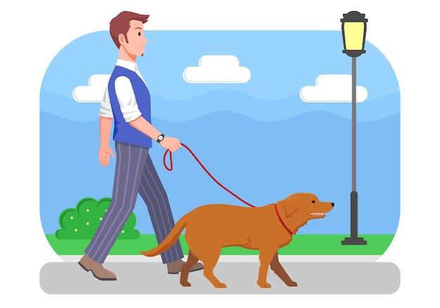 Ilustração homem caminhando com seu cachorro