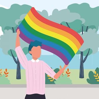 Ilustração homossexual dos desenhos animados orgulhosos