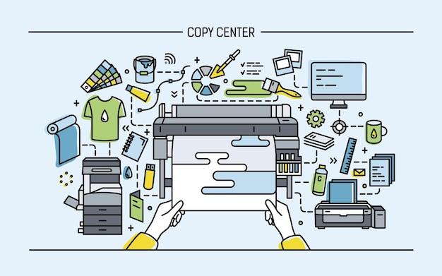 Ilustração horizontal com impressora, monitor, scanner e diferentes equipamentos.
