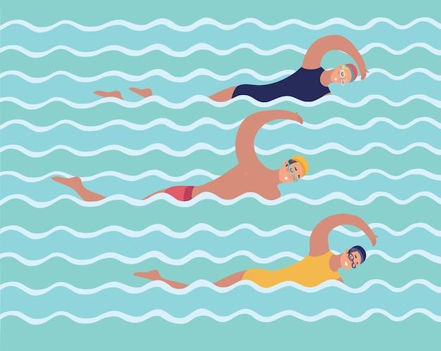 Ilustração horizontal com nadadores na piscina. vista do topo. várias pessoas e crianças na água nadam de maneiras diferentes. fundo colorido em estilo simples, com lugar para texto.