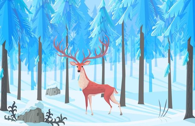 Ilustração horizontal da floresta de inverno com pinheiros e veados.