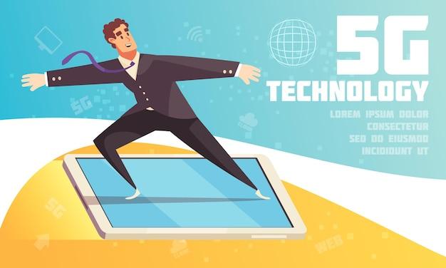 Ilustração horizontal da tecnologia da internet com um personagem masculino de desenho animado parado na tela do smartphone voando sobre o mundo