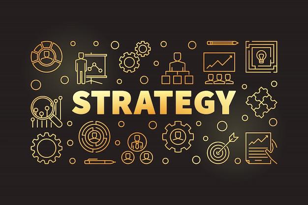 Ilustração horizontal de contorno dourado de estratégia ou banner