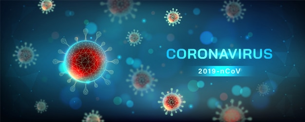 Ilustração horizontal de coronavírus. célula do vírus na visão microscópica